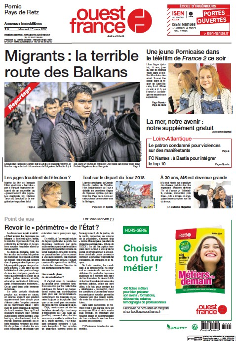 Pornic - 01/03/2017 - La Une du Ouest-France édition de Pornic du 01/03/2017