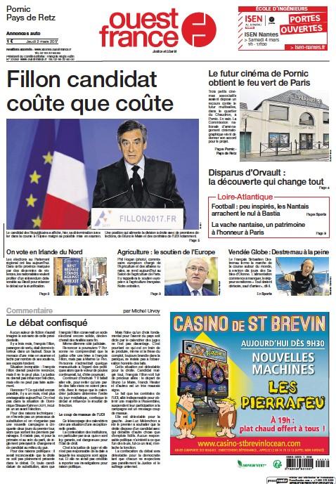 Pornic - 02/03/2017 - La Une du Ouest-France édition de Pornic du 02/03/2017