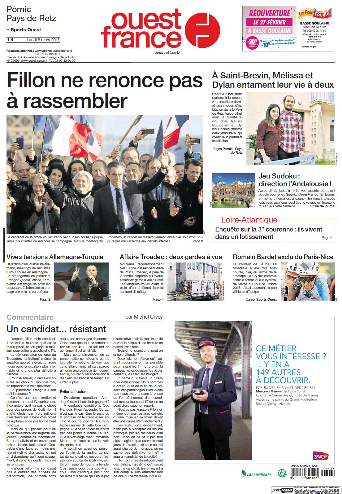 Pornic - 06/03/2017 - La Une du Ouest-France édition de Pornic du 06/03/2017