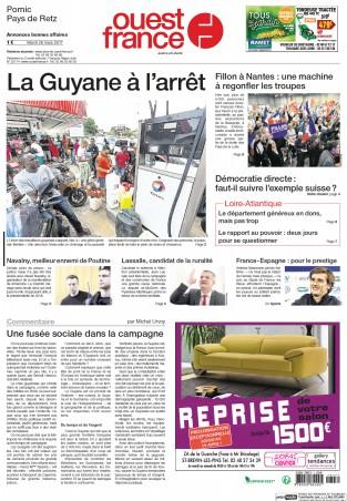 Pornic - 28/03/2017 - La Une du Ouest-France édition de Pornic du 28/03/2017