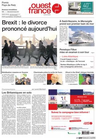Pornic - 29/03/2017 - La Une du Ouest-France édition de Pornic du 29/03/2017