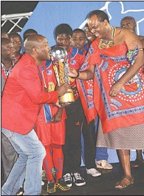Pressreader swazi observer 2017 08 29 more pics on charity cup wena waphakathi pls chairman victor gamedze presenting the swazitelecom charity cup under 20 trophy which was won by mbabane swallows to his majesty king stopboris Gallery