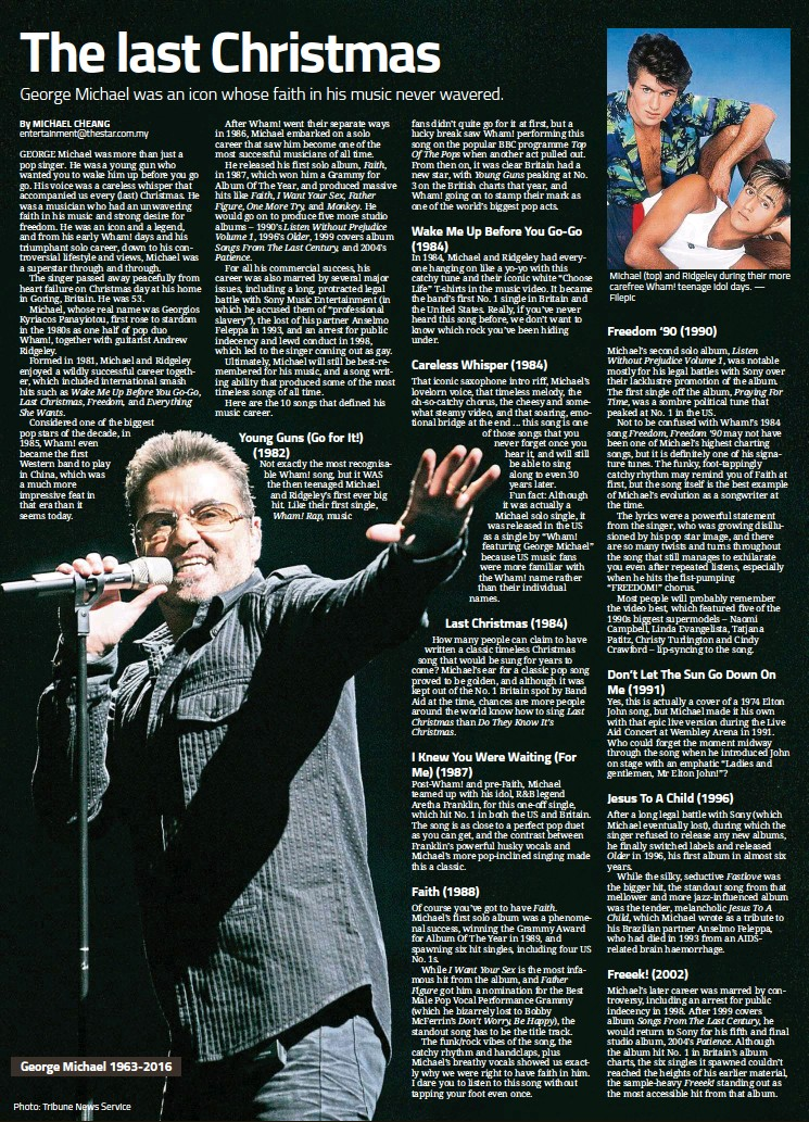Pressreader the star malaysia star2 2016 12 27 the last christmas george michael 1963 2016 photo tribune news service michael top and ridgeley during their more carefree wham teenage idol days filepic ccuart Gallery