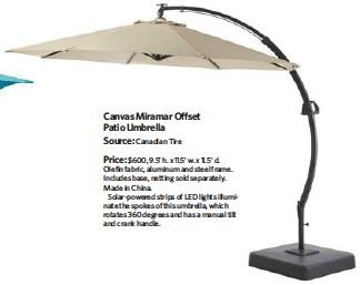 Canvas Miramar Offset Patio Umbrella Source Canadian Tire