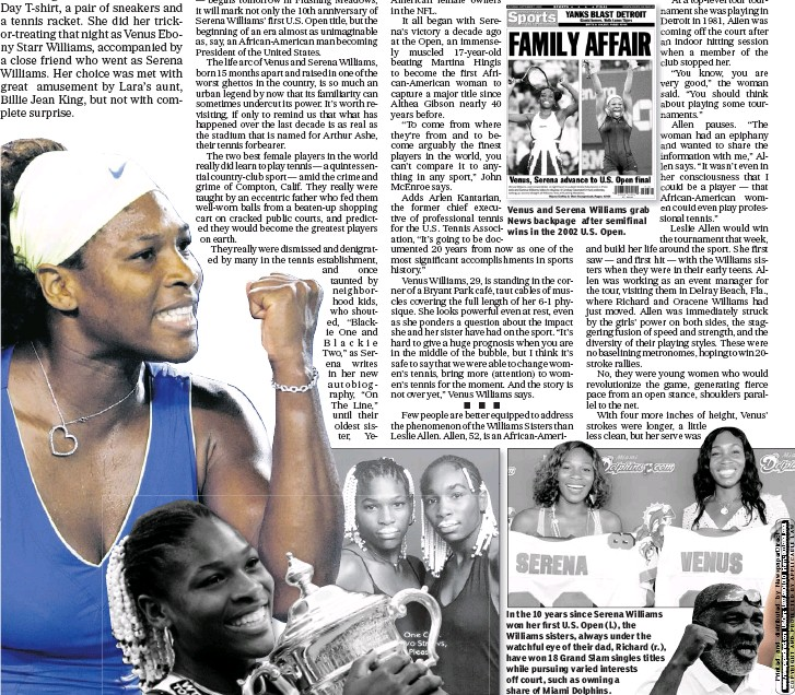 Venus And Serena Williams Grab News Backpage After Semifinal Wins In The 2002 U S Open In The 10 Years Since Serena Williams Won Her First U S Open L
