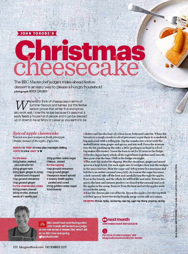 Pressreader bbc good food 2017 12 07 christmas cheesecake a bbc good food contributing editor john torode will be back as a judge on the new series of masterchef which will air on bbc one next spring johntorode1 forumfinder Images