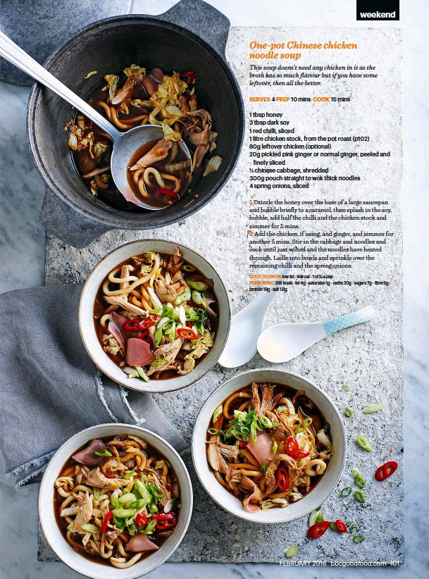 Pressreader bbc good food 2018 02 01 one pot chinese chicken per serving 265 kcals fat 4g saturates 1g carbs 30g sugars 7g fibre 5g protein 19g salt 18g forumfinder Choice Image