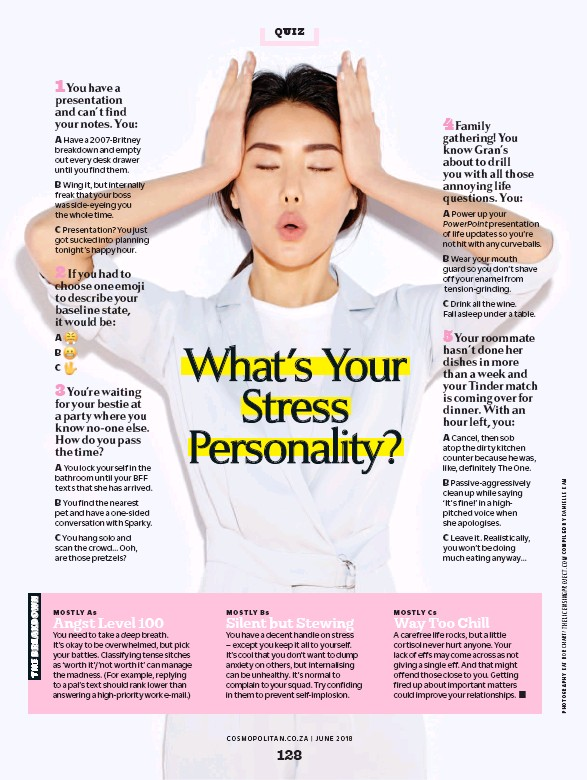 Pressreader cosmopolitan south africa 2018 06 01 quiz b passive aggressively clean up while saying its fine in a highpitched voice when she apologises c leave it realistically you wont be doing much ccuart Image collections