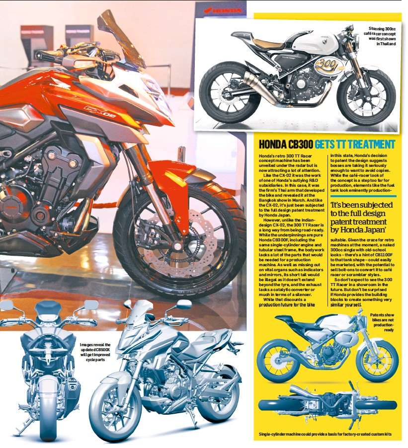 Images Reveal The Updated CB500X Will Get Improved Cycle Parts Stunning 300cc Cafe Racer Concept Was First Shown In Thailand Patents Show Bikes Are Not