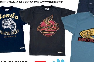 Each Carries The Classic Honda Wing Logo Or Harks Back To Days And Bikes Of Yore Typical Prices Are GBP1999 For A T Shirt GBP4999 Branded