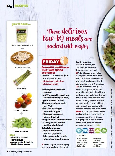 Pressreader healthy food guide australia 2017 10 01 broccoli per serve 1106kj265cal protein 263g total fat 128g sat fat 55g carbs 85g sugars 57g fibre 88g sodium 239mg calcium 64mg iron 30mg forumfinder Gallery