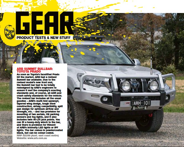 Pressreader 4 x 4 australia 2018 03 01 arb summit bullbar and there is provision for fitment of arbs intensity led lights or ipf lights the bar comes in powdercoated black but can be colour coded aloadofball Images