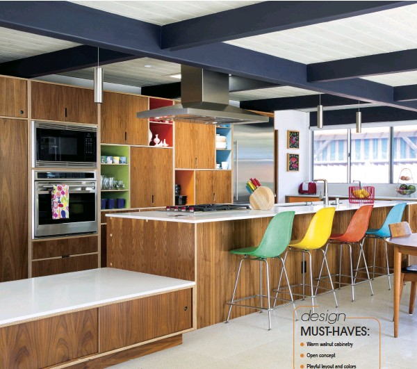 VIBRANT HUES MAKE FOR A CHEERFUL MIDCENTURY KITCHEN JOHN KLOPF PRINCIPAL ARCHITECT AT ARCHITECTURE SAYS ONE ELEMENT OF MODERN HOMES IS