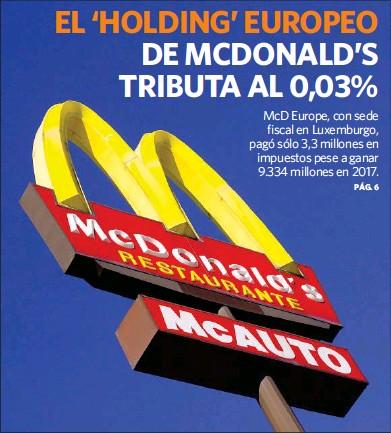EL 'HOLDING' EUROPEO DE MCDONALD'S TRIBUTA AL 0,03%