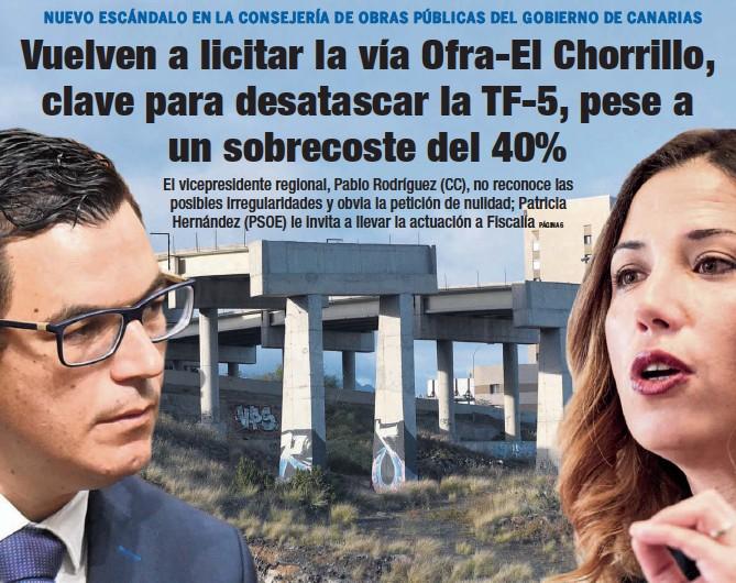 VUELVEN A LICITAR LA VÍA OFRA-EL CHORRILLO, CLAVE PARA DESATASCAR LA TF-5, PESE A UN SOBRECOSTE DEL 40%